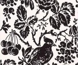 zwart zilver bloemen vogel behang 24