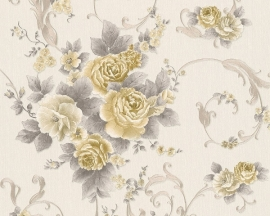 Behang Bloemen wit goud AS Romantica 30647-4