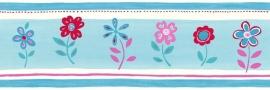 Esta Giggle 177304 behangrand blauw roze rood bloemen