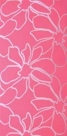 bloemen behang roze zilver x9
