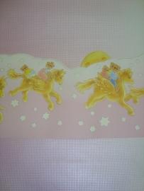 roze kinder baby behang met sterretjes beertjes en paarden