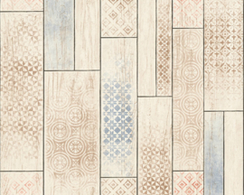 Hout behang blauw rood 33089-3