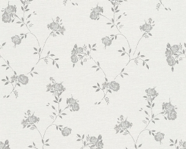Grijs bloemen A.S. CRÉATION Behang 30522-4