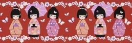 Rasch Kids Club 231915 Behangrand Geisha rood