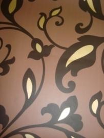 bruin modern bloemen behang 36