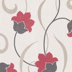 bloemen behang glinster rood xx33