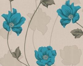 308542 blauw beige bloemen behang chicago vinyl