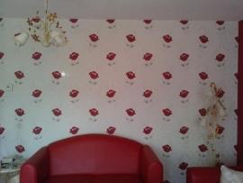 rood bloemen vlies behang 0056