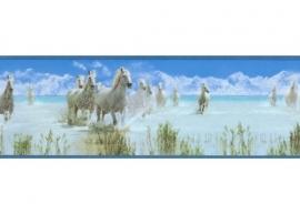 899019 behangrand paarden blauw wit