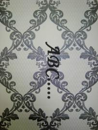 grijs creme retro lambrisering behang