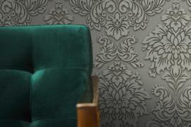 Barok behang grijs 36898-1