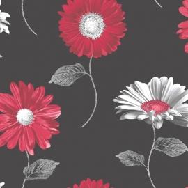 zwart rood bloemen behang 111501