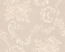 Glitter Bloemen behang beige creme 33867-6