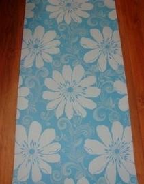 meisjes behang blauw met grote witte bloemen stijlvol behang