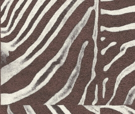 Zebraprint behang Rasch African Queen koperbruin creme  423327