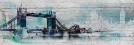 4-315 Komar Fotobehang Londen groene grijze brug behang