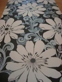 modern bloemen behang zwart zilver wit 68