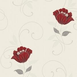 bloemen behang creme rood 32