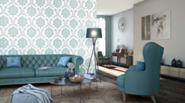 Barok behang blauw glitter xxx125