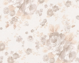 Behang Bloemen wit taupe AS Romantica 30427-6