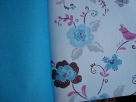 bloemenbehang blauw grijs roze 111