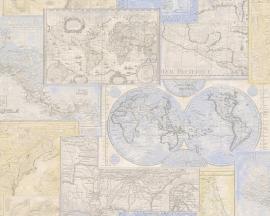 6643-10 Decora natur 5 behang met wereld kaart