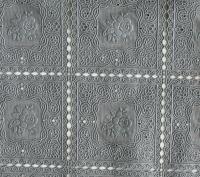 kant tafelloper tafelzeil grijs bloemetjes  ptx26