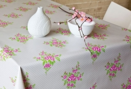 150-029 roze groen creme bloemen tafelzeil