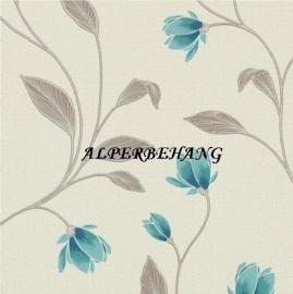 creme blauw bloemen vinyl behang  9662-18
