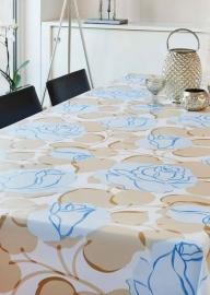 150-015 blauw creme bloemen tafelzeil