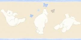 Esta Giggle 177301 behangrand beige blauw beertjes