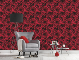 Rood rozen behang 37004-2