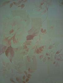 sreme licht bruin modern bloemen vinyl behang 12
