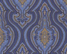Barok blauw behang vlies 96107-4