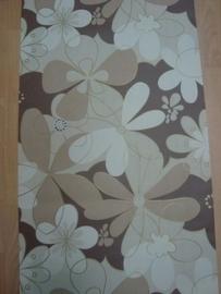 modern bloemen behang bruin creme  26
