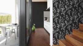 behang glitter  zwart zilver barok 32476-2