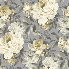 Geel bloemen behang  glitter xx25