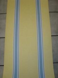 opruiming geel blauw streepjes behang 62