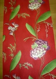 rood bloemen vinyl behang 4