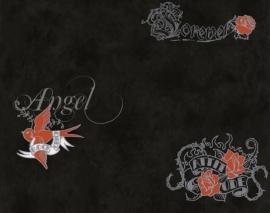 6889-34 bloemen zwart rood behang