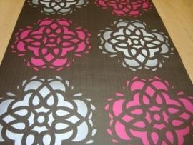 roze zilver bruin retro patronen behang 5