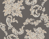 Bloemen behang Beige Metalic black glitter 33867-5