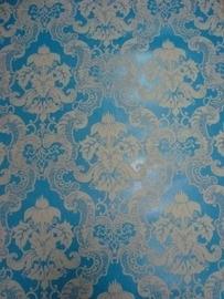 barok behang vinyl blauw wit 101