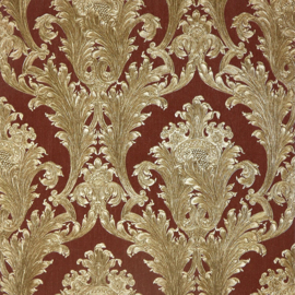 Arthouse Vintage Figaro Italian Damask Pattern Textured Glitter Vinyl Wallpaper (Red 291204)