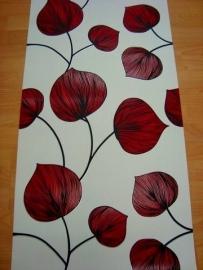 bloemen behang rood  68