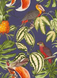 vogel behang tropical papegaain pelikaan ananas 6302-08