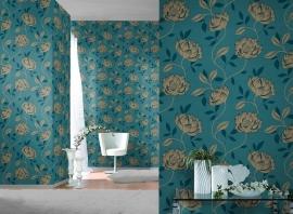 bloemen behang blauw goud x10