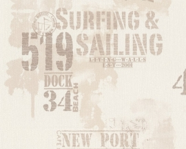 Living Walls Surfing & Sailing behang 9270-33 lichtbeige bruin