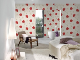 rood bloemen behang xx56