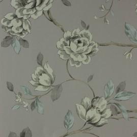 bloemen behang grijs taupe 86